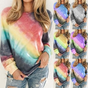 2020 fall Plus size hot tie-dye blouse European and American gradient round neck long-sleeved casual T-shirt