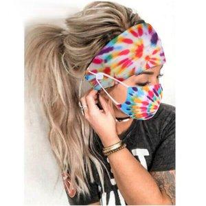 2Pcs / Set Tie-Dye Спираль пыл Рот маска с анти-Tight кнопки оголовье F3MF