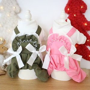 Double Bow Decor Lace Design Green Pink Colors Dog Clothes Autumn and Winter Four-legged Pet Double Thick Quilted Cotton Clothes