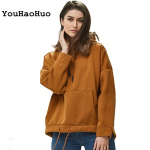 Women Fleece Pullovers Sweatshirt Autumn Winter 2019 Female Solid Oversize Pullovers Casual Pocket Hooded Tops 0916