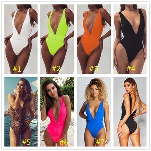Sexy profunda V One Piece Swimsuit com Belt acolchoado Swimwear Mulheres Verão na moda Backless Terno Sólidos desgaste da cor Monokini Praia LY9112