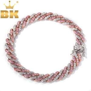 EL BLING KING pulsera de las mujeres de 9 mm hacia fuera helado oro rosa de oro cubana Enlace Con Blanco Rosa Cubic Zirconia joyería pulseras