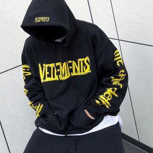 World Tour Vetements imprimé graphique noir à capuche VTM 20AW Sweat À Capuche Casual Hoody overs Harajuku Hommes Femmes Hip Hop Streetwear