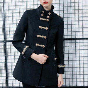 Women autumn double breasted gold embroidery button wool coat slim fit casual work army woolen blends coat