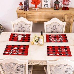 عيد الميلاد الكتان تحديد الموقع 30 * 40CM الأحمر والأسود شعرية عشاء عيد الميلاد تحديد الموقع عيد ميلاد سعيد رسائل مطبوعة الجدول حصيرة AHC2113