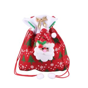 Reusable Fabric Christmas Candy Bags Cute Santa Claus Drawstring Gift Treat Bag Goodie Bag Pocket Sweet Candy Xmas Stocking Hand
