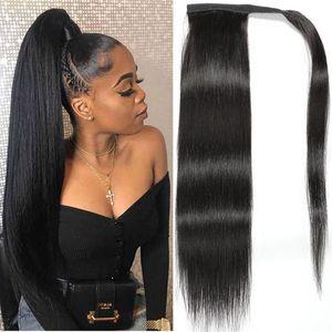 Nuevo estilo indio pelo humano recto cola de caballo clip en la cinta Piezas de pelo esponjoso extensiones de mujer