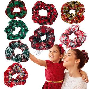 2020 Weihnachten Plaid Scrunchies Frauen-Mädchen-elastische Haar-Riegel-Seil-Band Snowflake Pferdeschwanz-Halter Scrunchy Dickdarm- Haarbänder D91504
