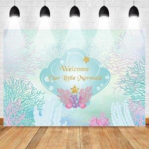 여자 언더 워터 월드 (Underwater World) 쉘에 대한 사진 촬영 생일 파티 사진 배경 포스터에 대한 Mehofoto 인어 공주의 백 드롭