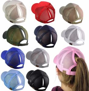 Free DHL UPS 14 Colors Fashions Girls Ponytail Hat Washed Mesh Back Hollow Criss Cross Ponytail Messy Bun Baseball Cap Trucker Hat