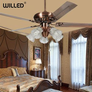 Luxury Ceiling Fan Light Glass Lampshade Iron Fan Led Home Decor Light Fixture 110V 220V 52inch European Style Lamp Dinning Room