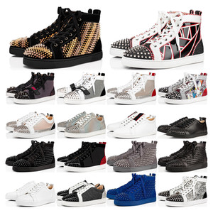New mens sneakers Red bottoms Studded Spikes black white bred grey laser suede leather Mens Womens flat Party Lovers size 36-46 with box