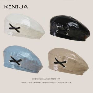 Korean fashion retro Pu Beret cap bright leather with cross bandage Painter's hat Vintage Japanese Ladies Solid Color Flat Cap