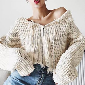 Zipper Up Cardigans Crop Tops Women Outwear Long Sleeve Fringed Knit Coat Street Wear Hooded Sweater