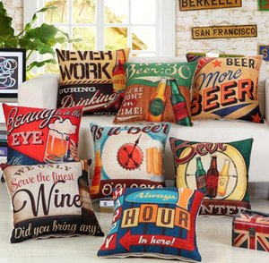 NEW Holiday Beer Bottle Pillow Case British Style Retro Pillow Cover Single-sided Print 45*45cm Pillow Cover Home Bar Decoration