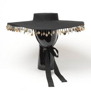 202009-hh8156 Winterwollen Art und Weise Retro Kette Quasten nehmen Foto Dame Fedoras Kappe Frauen Hut