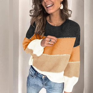 CWFMZQ de gran tamaño otoño suéter remiendo de las mujeres suelta de punto Jerseys O-cuello del suéter manera de las tapas de Calle mujer de manga larga