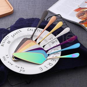 الملونة الفولاذ المقاوم للصدأ كعكة المجرفة مع مسنن حافة خادم نصلي كتر فطيرة بيتزا المجرفة كعكة أداة البسط الخبز أدوات RRA3568