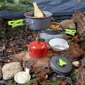 Ultraléger Batterie de cuisine Camping Portable Ustensiles de plein air Art de la table de pique-nique Randonnée 11 Pcs / baladants Set table Pan Pot VT1635