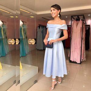 Custom Made A Line Short Bridesmaid Dresses Bateau Neck Pleat Satin Skirt Tea Length Maid of Honor Dresses Wedding Party Dress L2