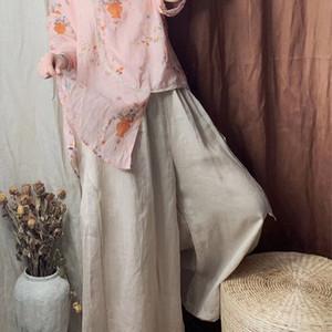 Hj78u 2020 Stil neue künstlerische Top-Summer Group Stil gedruckt Ramie Nationale Nationalität ethnische ethnische unregelmäßige Kurzarm-Shirt oben