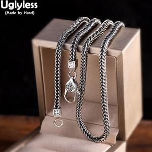 Uglyless البوذية التايلاندية فاجرا والفضة والمجوهرات لسلاسل الرجال النساء للجنسين الأفعى ساحة العظام قلادة 3MM سميكة 925 بيجو