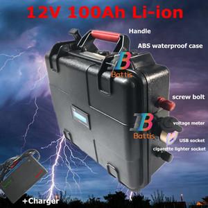 impermeable 12v 100 Ah de litio ión Li descarga de la batería 100A USB Solar Energy Storage carrito de golf sinusoidal pura + cargador 10A
