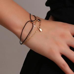 Youvanic Punk bonito ouro pequeno cadeado Charm Bracelet para as Mulheres Rope Chain Link pulseiras casal pulseira Moda Jóias Presentes 0266
