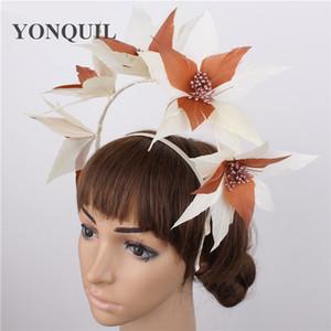 Fashion fancy feather flower bridal fascinator hat headband nice show wedding headwear ladies marry bridal hair accessory 6pcs