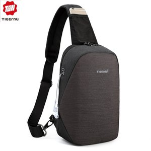 Tigernu Fashion Men Male chest Bags Casual Splashproof 9.7 inch chest Bag for Male chest Bags Black Men