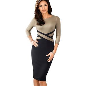 Nice-sonsuza Vintage Şık Kontrast Renk Patchwork Aşınma İşbaşında vestidos İş Parti Ofisi Kadınlar BODYCON Elbise B463 için