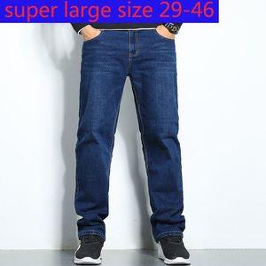 New Arrival Autumn Cotton Men Stretch Jeans Super Large Fashion Full Length Casual Plus Size 29-31 32 33 34 35 36 38 40 42 44 46