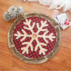 Christmas Tree Skirt Red Plaid Snowflake Tree Skirts Xams Party Derocationg Supplies Window Tree Christmas Decor Gift Ornamention LSK734