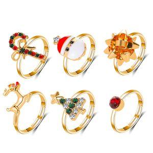 6PCS set Christmas Tree Red Green Crystal Rhinestone Santa Claus Snowman Rings for Women Gold Color Metal Snowflake Tree Charm Ring Jewelry