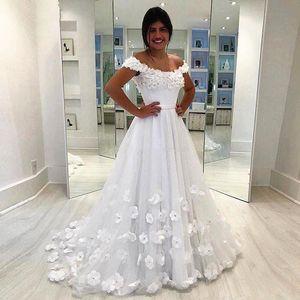 2020 Цветок Свадебные платья Линия Тюль Cap Sleeve Деревня Сад Формальное невесты Свадебные платья сшитое