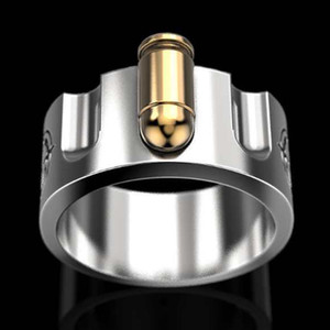 Creative Silver Color Men Ring Motorcycle Party Steampunk Cool Two-tone Eggshell Finger Rings for Women Jewelry