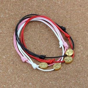 120pcs  lots Antique gold Tone oval Flat Catholic patron Metal Beads Adjustable Cord Wrist DIY Wax rope weave Bracelet 4color C-46