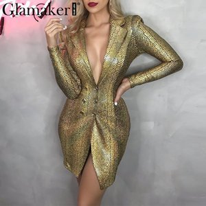 Glamaker Gold snake print sexy v-neck short dress Bodycon elegant buttons mini blazer dress Female 2020 night party club dress 200925