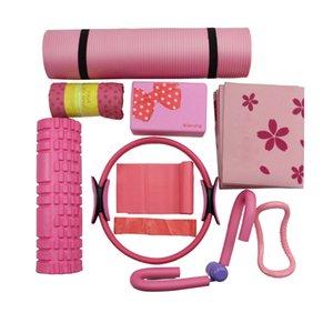 9 pezzi Set Pvc Nr pieghevole Resistenza Mat Band Ball loop Leg asciugamani clip Yoga Block Attrezzature Fitness