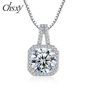 CHSXY Luxury Round Zircon Pendant Necklace For Women Choker Chain Crystal Rhinestone Necklace Wedding Gifts 2020 Fashion Jewelry