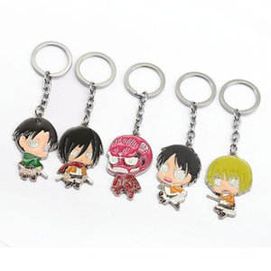 HSIC Anime Attack on Titan Character Keychains Metal Figures Pendants Key Chain Levi Ackermann Alan Men Cartoon Jewelry 102197