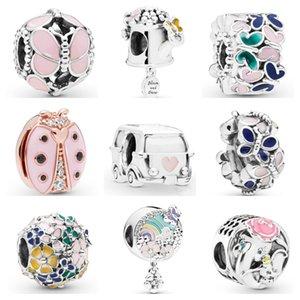 925 Sterling Silver Elephant Reflexions Бабочка Clover Pink Ladybird мотаться Fit Оригинал бисера Подвески Браслеты
