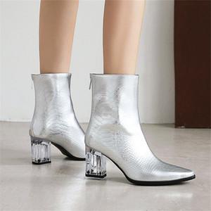 2021Fashion Kadınlar Bilek Boots Kare kafa Yüksek Topuk Boots Seksi Stiletto Kadınlar Altın Gümüş siyah