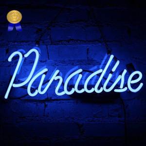 """Luce al neon Paradise Bar insegna al neon Segni fatti a mano in vetro segni al neon per il regalo Bar Party Store di Natale della camera da letto della lampada da parete 14"""" x 6"""""""