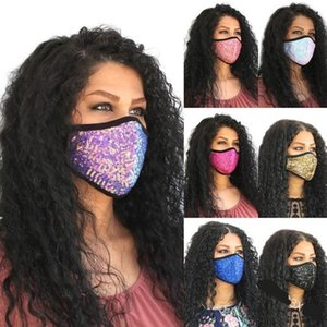 Máscaras de DHL de las lentejuelas de la boca de la cara Personalizar Flash Mascarilla Earloop respirables plegable Mascherine Moda reutilizable del polvo anti Niño Adultos 6XB C2