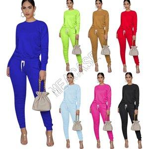 Le donne Body Tuta Sport Outfit Pullover Cappotto Leggings pieghettati pantaloni pantaloni due vestiti tuta da jogging Sportwear D81305