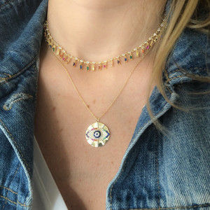 Gold Evil Eye Signet Coin Round Ciondolo Collana Gold Pieno Vintage Fortunato Donne Donne Collane Catena 45 + 5 cm