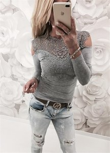 Dew Shoulder Hollow Out Long Sleeve Womens Tees Casual Females Clothing Lace Panelled Womens Designer Tshirts Sexy