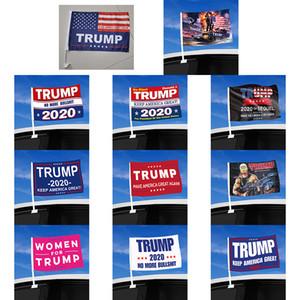 2020 Trump coches de la bandera de la ventana 30 * 45cm Trump bandera que agita la bandera de Estados Unidos 2020 Campaña Banderas EE.UU. Elección de coches (incluyendo asta) XD23991