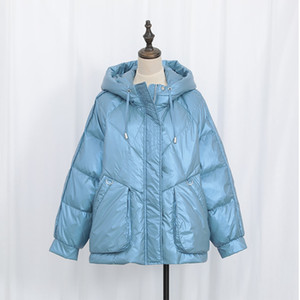 Winter Puffer Jackets Women Short Hooded Shining Down Jacket Ladies White Duck Down Padded Coats Washfree Parkas05